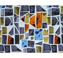 Halenkoviny - viskózová šatovka 9746 šedé geometrické tvary