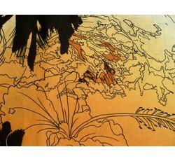 Hedvábí - hedvábná šatovka 9765 oranžová černý květ