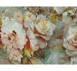 Hedvábí - hedvábná halenkovina 9771 béžová s růžemi