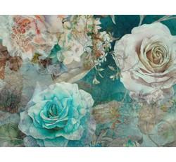 Hedvábí - hedvábná halenkovina 9771 tyrkysová s růžemi