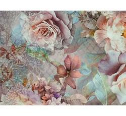 Hedvábí - hedvábná halenkovina 9771 růžová s růžemi