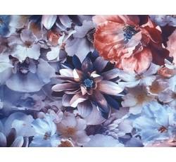 Hedvábí - hedvábná halenkovina 9778 modrý květ