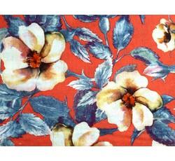 Šatovky - červená viskózová šatovka 9810 s květy