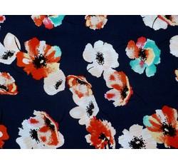 Halenkoviny - tmavě modrá viskózová šatovka 9848 s květy