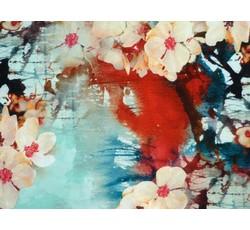 Šatovky - tyrkysová hedvábná šatovka 9710 s květy