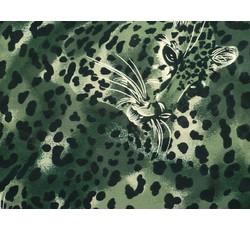 Šifony - zelený šifon 9859 zvířecí motiv
