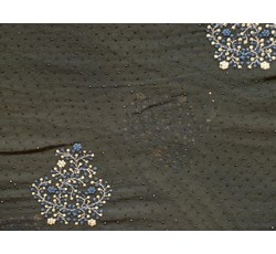 Šifony - černý šifon 9957 s perličkami modrý květ