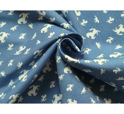 Rifloviny - modrá košilová džínovina 9981 s koníky