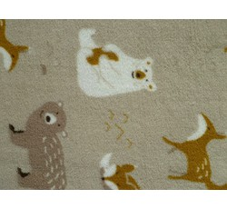 Fleece - coral fleece béžový se zvířátky