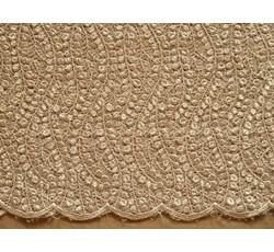 Krajky - elastická krajka 1045 bronzová s flitry