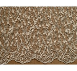 Krajky - elastická krajka 1045 perlová s flitry
