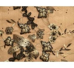Krajky - zlato černá krajka 1058 na tylu s perličkami