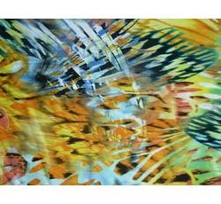 Halenkoviny - oranžová šatovka 9885 zvířecí vzor