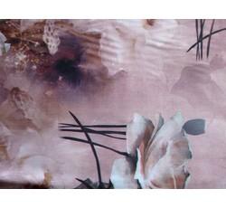 Hedvábí - růžová hedvábná šatovka 1087 s květy
