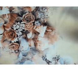 Hedvábí - hedvábná šatovka 1102 béžová s růžemi