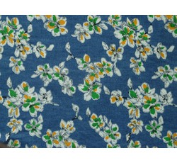 Rifloviny - košilová džínovina 1895 modrá žluté květy