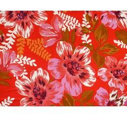 Halenkoviny - červená viskózová šatovka 3004 s květy