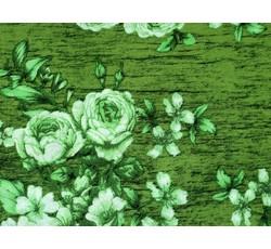 Šatovky - zelená viskózová šatovka 1077 s květy