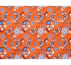 Bavlněné látky - oranžový bavlněný úplet 2382 s motýli