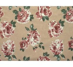 Bavlněné látky - béžový bavlněný úplet 2117 s růžemi