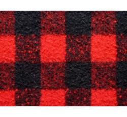Kabátovky - kabátovka 1947 vařená vlna červená s kárem
