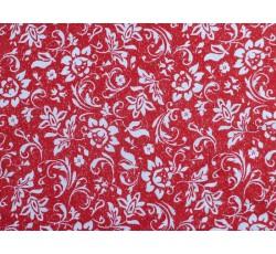 Bavlněné látky - červený bavlněný úplet 2067 květinový vzor