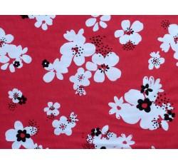 Bavlněné látky - červený bavlněný úplet 2451 s květy