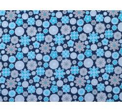 Bavlněné látky - tmavě modrý bavlněný úplet 2480 tyrkysové kvítky