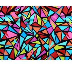 Plavkoviny a látky na fitness - plavkovina 20 barevné trojúhelníky