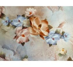 Hedvábí - stříbrná hedvábná šatovka 1905 s květy