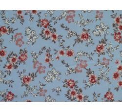 Bavlněné látky - bledě modrý bavlněný úplet 2011 s kytičkami