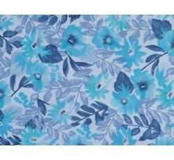 Bavlněné látky - bavlněný úplet 2452 s tyrkysovými květy