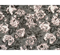 Úplety - šedý úplet 2034 květinový vzor