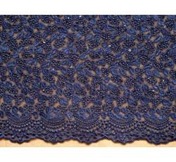 Krajky - tmavě modrá elastická krajka 2063 s flitry