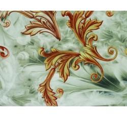 Hedvábí - zelenkavá hedvábná šatovka 2048 zlatý vzor