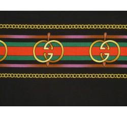Halenkoviny - černá viskozová šatovka 2049 barevné pruhy II.j