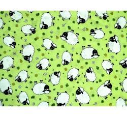 Bavlněné látky - zelená bavlněná látka s ovečkami