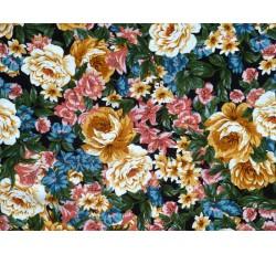 Halenkoviny - černá viskózová šatovka 3015 s barevnými květy