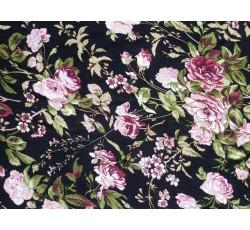 Halenkoviny - černá viskózová šatovka 3015 s růžovými květy
