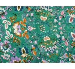 Šifony - zelený viskózový šifon 3018 s květy