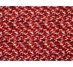 Halenkoviny - červená viskóza 3020 s písmenky