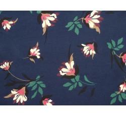 Halenkoviny - tmavě modrá viskóza 3021 s květy
