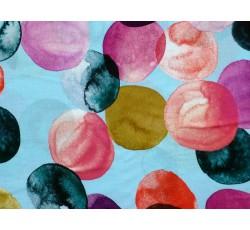 Halenkoviny - modrá viskóza 3028 barevné bubliny