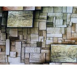Hedvábí - hedvábí 2081 dlaždicový vzor hnědý