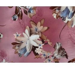 Hedvábí - vínové hedvábí 2081 s květy