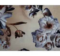 Hedvábí - béžové hedvábí 2081 s květy