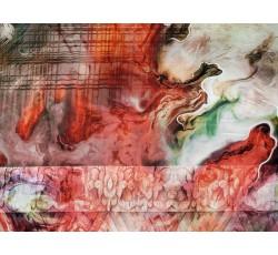 Hedvábí - hedvábí 2081 červený mramorový vzor s pruhy