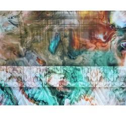 Hedvábí - hedvábí 2081 tyrkysový mramorový vzor s pruhy