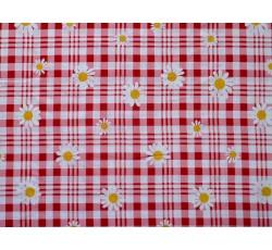 Šatovky - viskózová šatovka 2019 červená kostka s květy