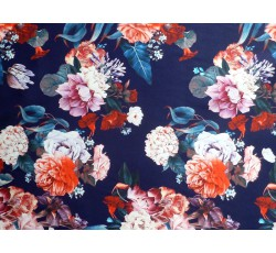 Hedvábí - tmavě modré hedvábí 2083 s růžemi